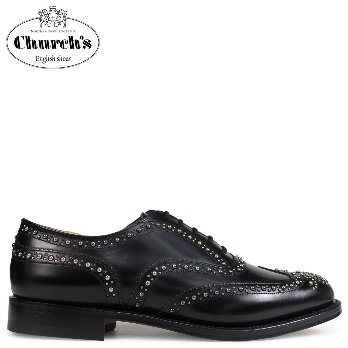 Church's チャーチ 靴 バーウッド 2S ウイングチップ シューズ メンズ BURWOOD 2S POLISHED BINDER EEB012 スタッズ ブラック