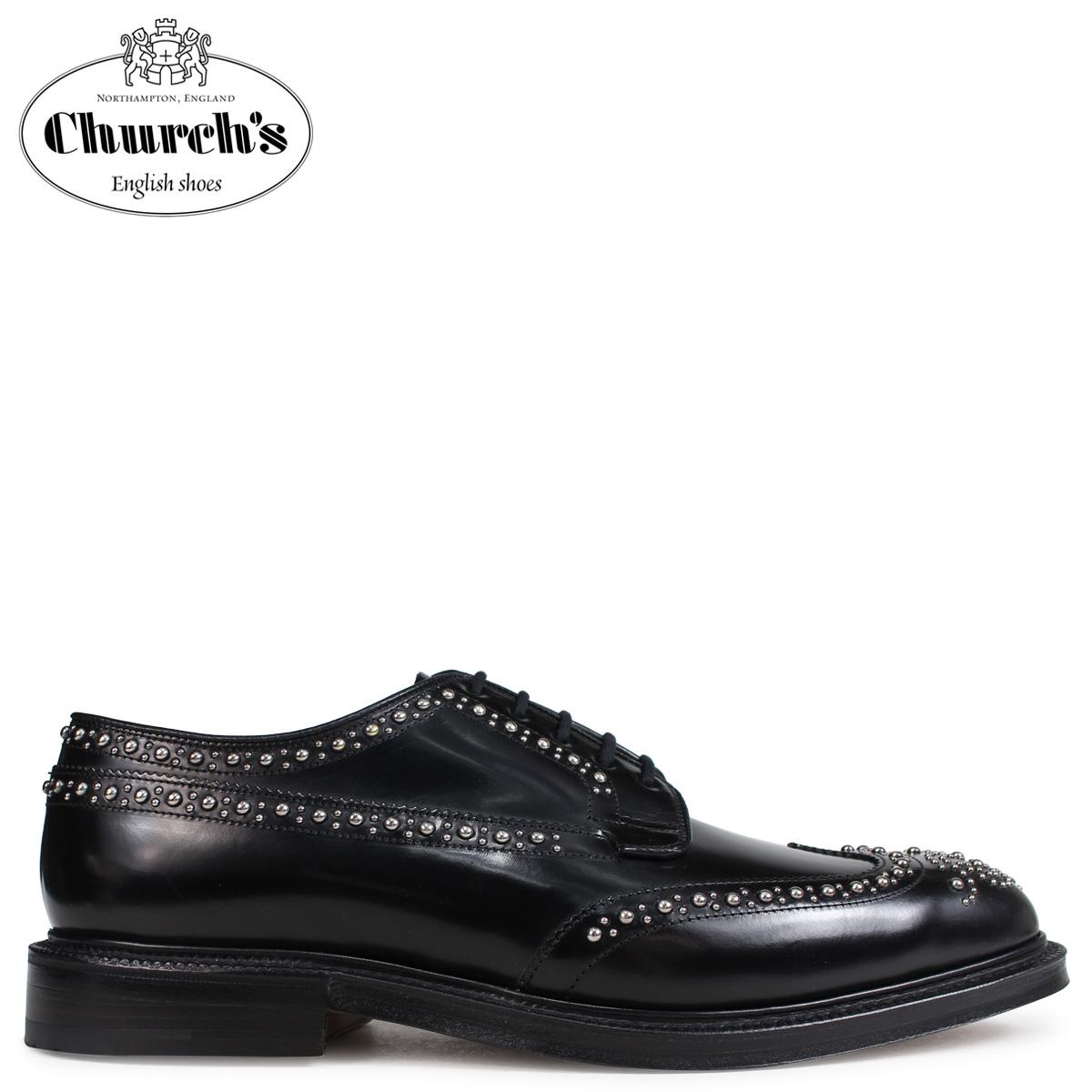 Churchs チャーチ 靴 グラフトン メット ウイングチップ シューズ メンズ GRAFTON MET POLISHED BINDER EEB228 スタッズ ブラック 黒