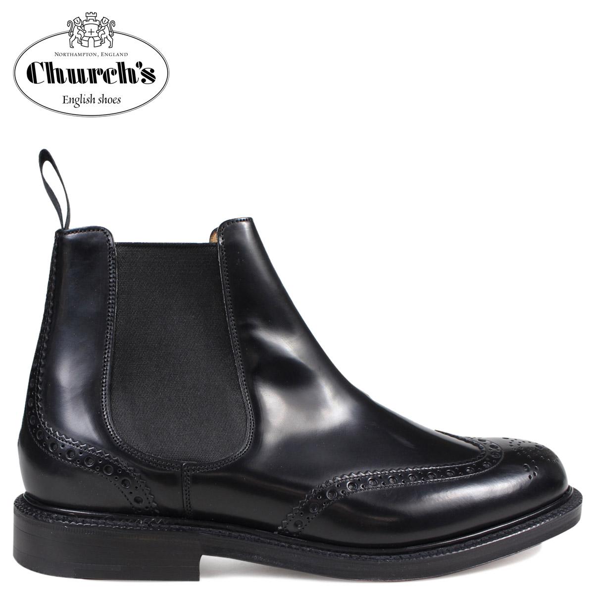 Church's 靴 チャーチ ブーツ サイドゴア ショートブーツ ウイングチップ メンズ KETSBY CHELSEA BOOTS ブラック ETB001