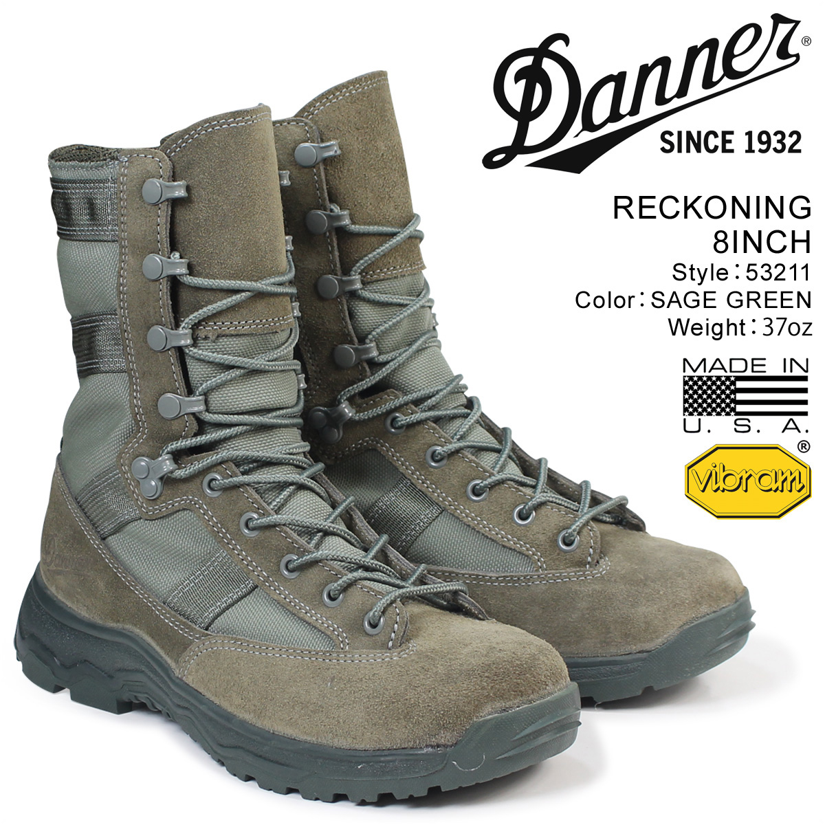 DANNER ブーツ ダナー RECKONING 8INCH 53211 メンズ グリーン
