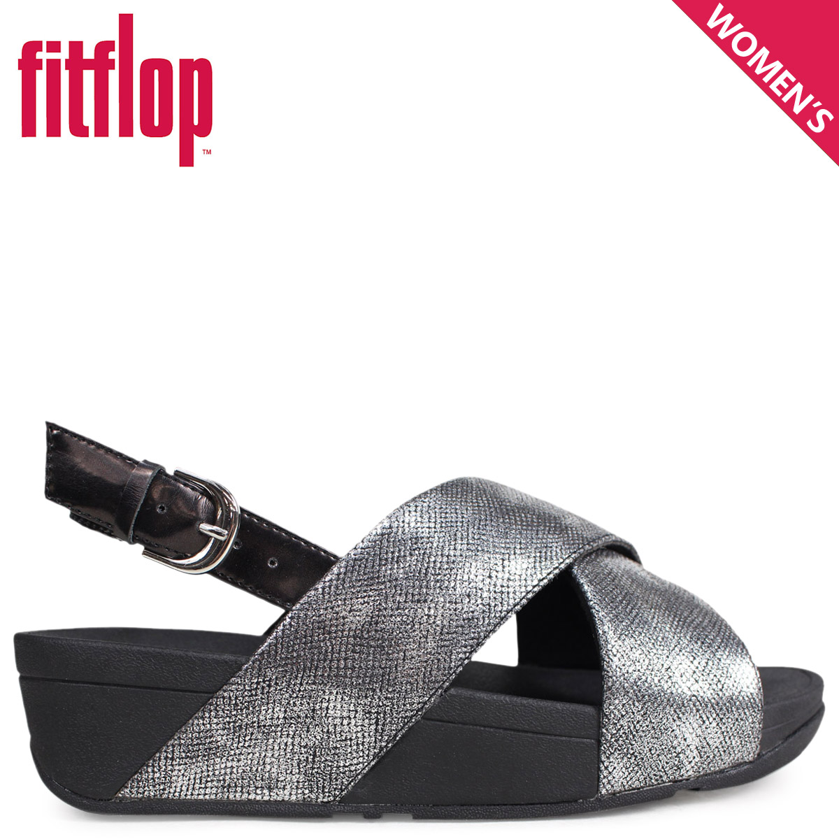 5e01eed3b836 Fitting FLOP sandals FitFlop Lulu LULU CROSS BACK-STRAP SANDALS SHIMMER- PRINT Lady s K54 black  4 4 Shinnyu load