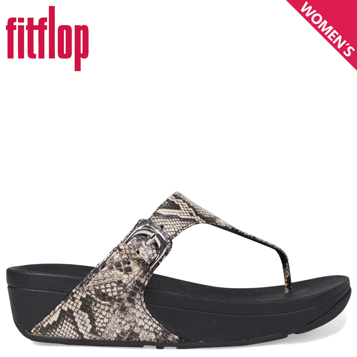 ec4103826e0a Sugar Online Shop  Fitting FLOP sandals FitFlop Kinney SKINNY TOE-THONG  SANDALS SNAKE PRINT LEATHER Lady s L69 black  4 4 Shinnyu load