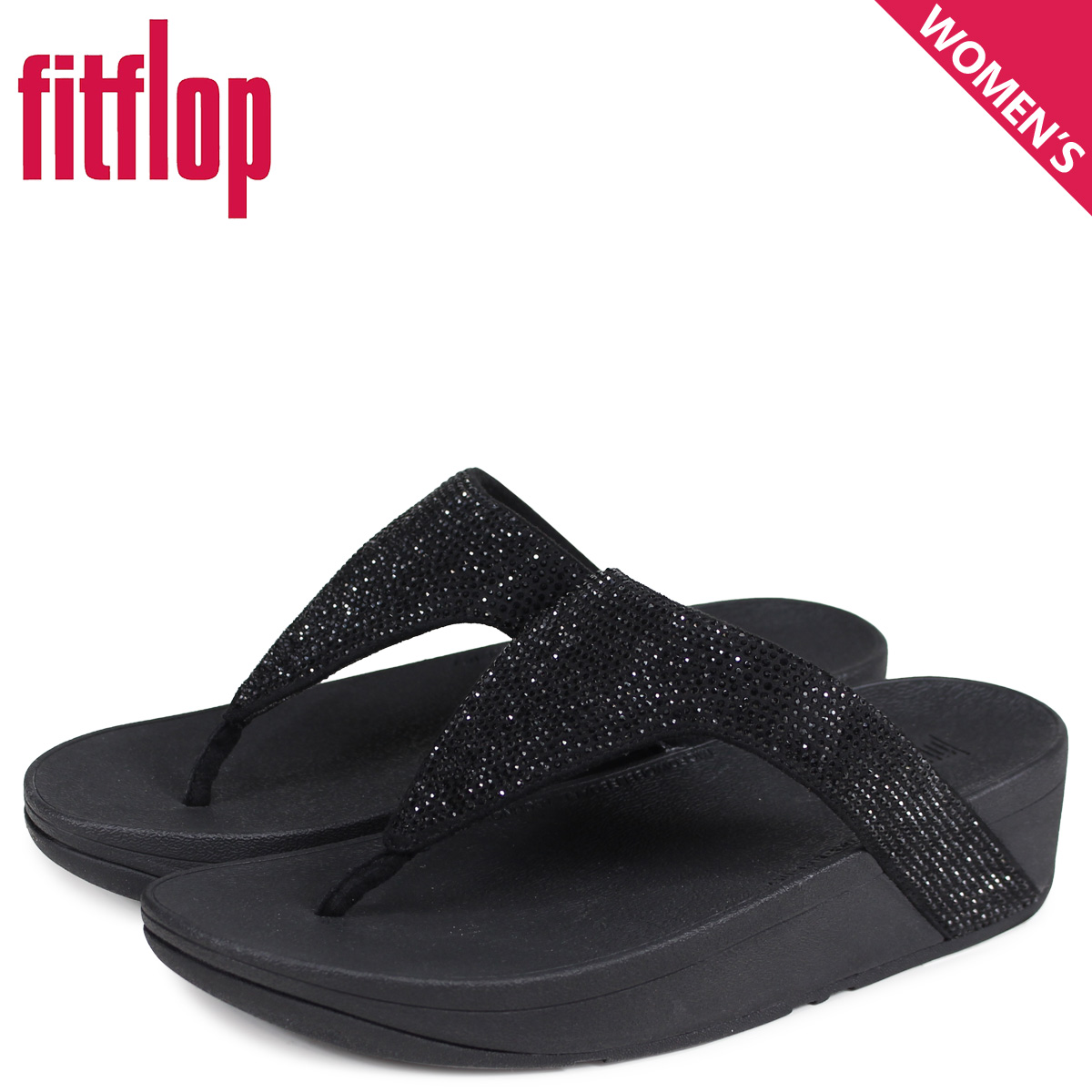 Fitting FLOP FitFlop サンダルトングサンダルロッティレディース thickness bottom LOTTIE  SHIMMERCRYSTAL black black T82