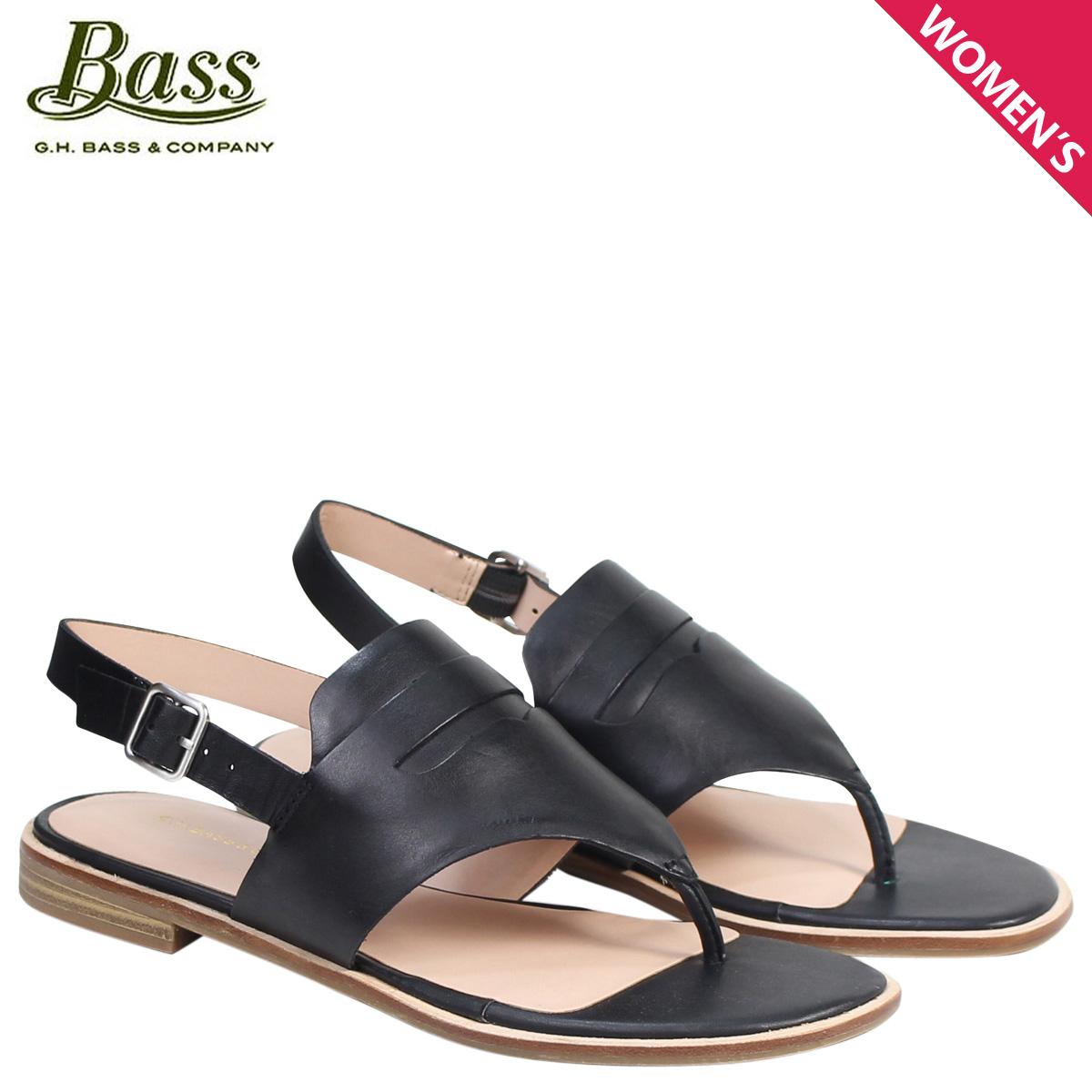 G.H. BASS サンダル レディース ジーエイチバス トング アンクルストラップ MADDIE THONG SANDAL 71-20334 靴 ブラック 黒