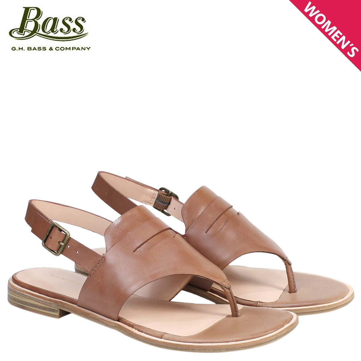 e3dd9bfc1b0 G.H. BASS sandals lady's G H bus tong ankle strap MADDIE THONG SANDAL  71-20,338 shoes brown