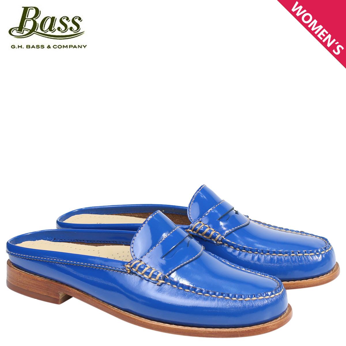 G.H. BASS ローファー ジーエイチバス レディース サンダル スリッパ バブーシュ WYNN PATENT LEATHER MULE WEEJUNS 71-22857 靴 ブルー