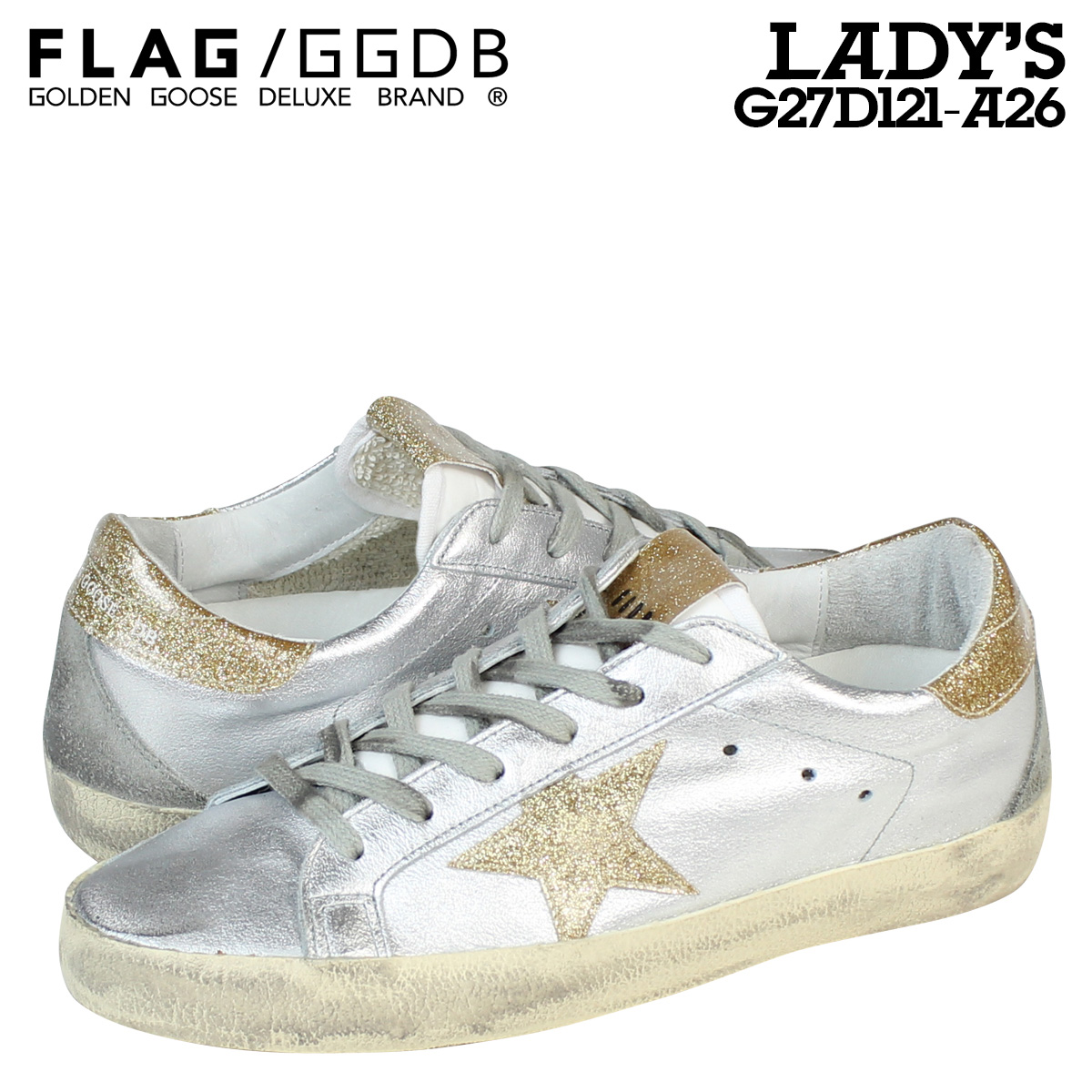fcc2e5fc6ad7 Sugar Online Shop  This Golden Goose women s SUPER STAR sneaker superstar  MADE IN ITALY G27D121 A26 Silver Gold  10 23 new in stock