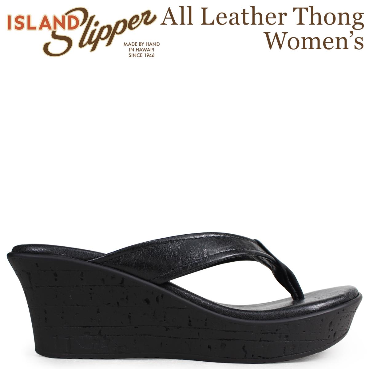 ISLAND SLIPPER アイランドスリッパ レディース サンダル ウェッジサンダル スエード ALL LEATHER THONG ブラック BP910