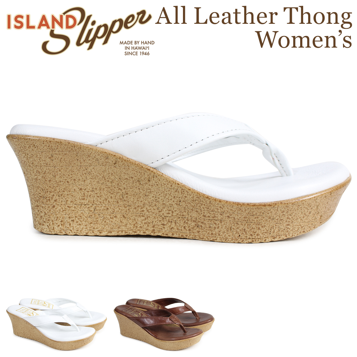 ISLAND SLIPPER アイランドスリッパ レディース サンダル ウェッジサンダル スエード ALL LEATHER THONG ホワイト ブラウン P910