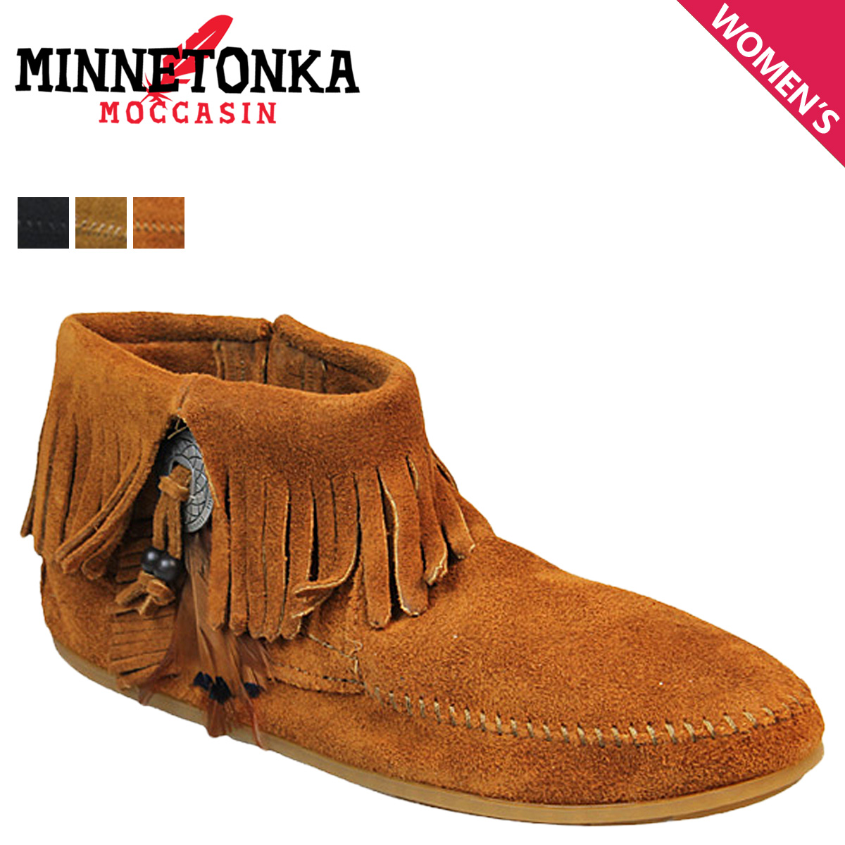 e1f1acf79d709 Mine Tonka MINNETONKA boots booties Lady's concho feather side zip CONCHO  FEATHER SIDE ZIP BOOT