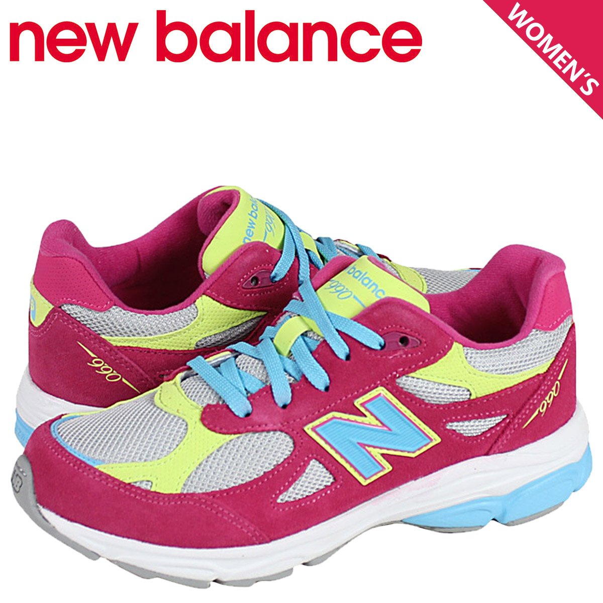 sports shoes 7ccd1 08812 new balance New Balance kids Lady's sneakers KJ990SWG M Wise shoes pink