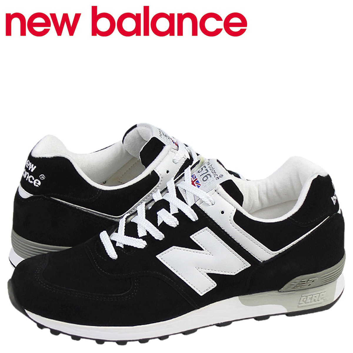 [卖出] 新平衡新平衡 M576KGS 运动鞋作出在英格兰 D 明智麂皮绒男装黑色白色