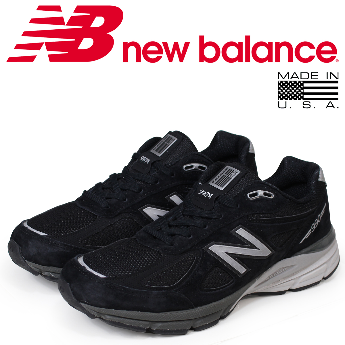 best service 88ef3 6aa61 new balance 990 men's New Balance sneakers M990BK4 D Wise MADE IN USA shoes  black black