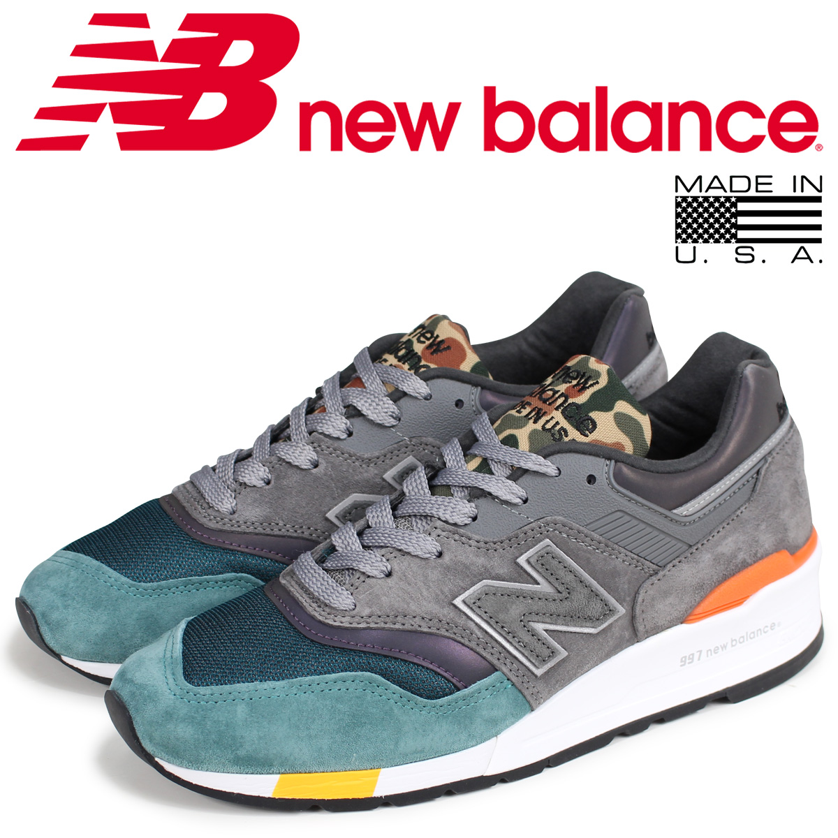 premium selection 9b7f9 4643f new balance 997 men's New Balance sneakers M997NM D Wise MADE IN USA gray