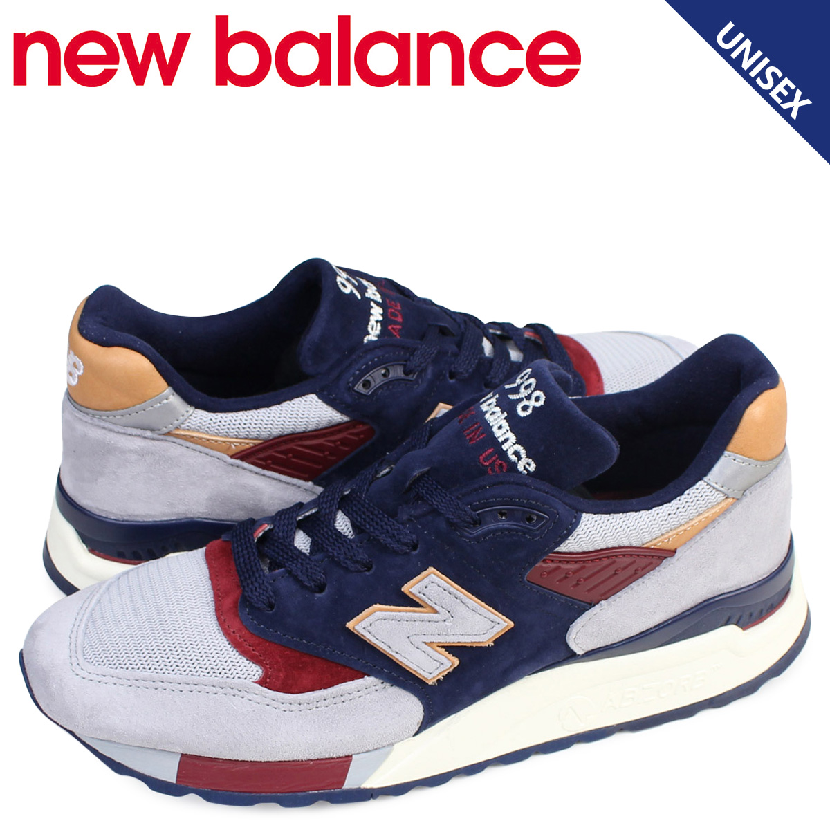 100% authentic 3e2a6 dc128 new balance 998 men's lady's New Balance sneakers M998CSU D Wise MADE IN  USA shoes navy