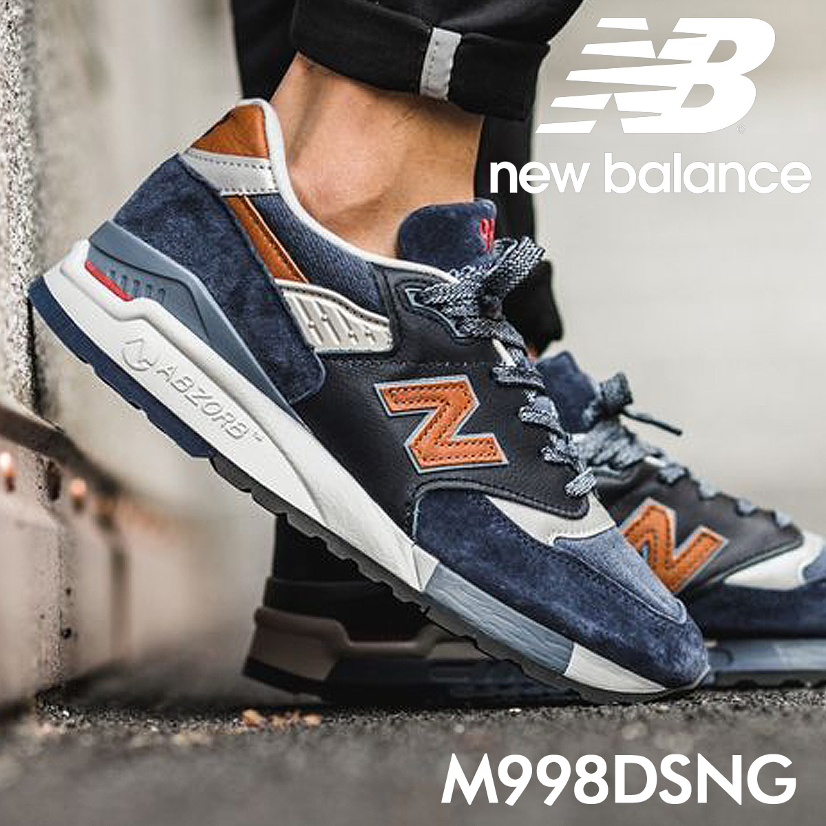new balance 998 men's New Balance sneakers M998DSNG D Wise MADE IN USA  shoes navy