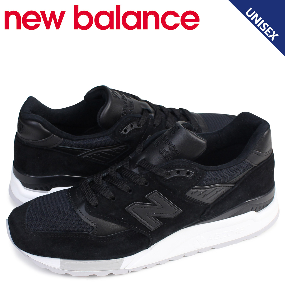 official photos a4102 fd166 New Balance 998 men's lady's new balance sneakers M998NJ D Wise MADE IN USA  shoes black black