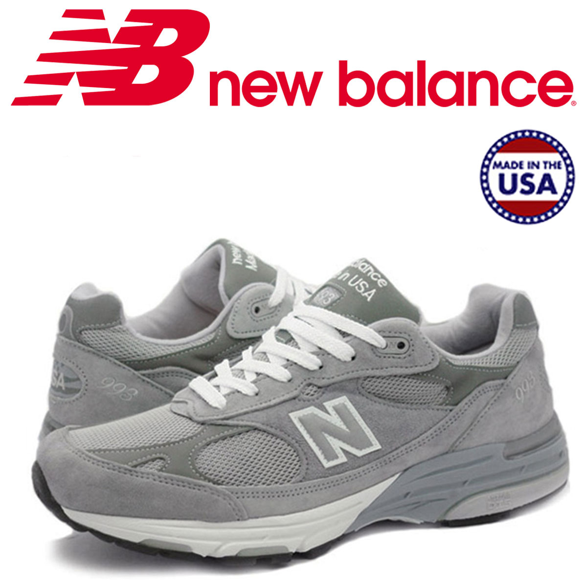 new balance 993 men's New Balance sneakers MR993GL D Wise MADE IN USA gray  [the 7/9 additional arrival]