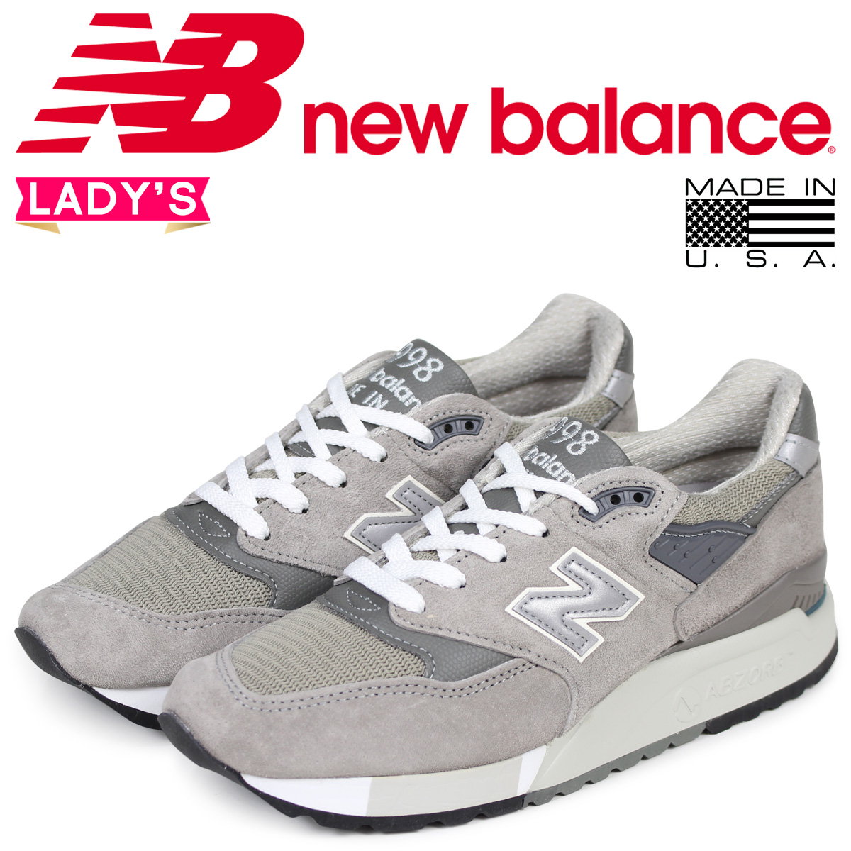 best cheap a0667 c74b0 new balance 998 Lady's New Balance sneakers W998G B Wise MADE IN USA gray