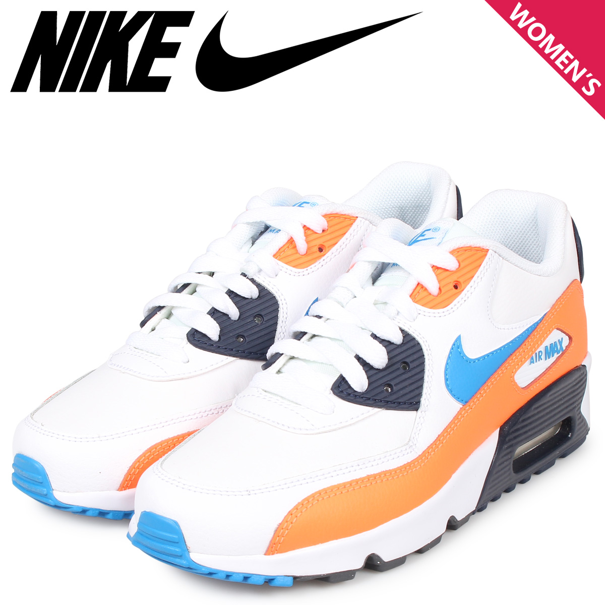 NIKE Kie Ney AMAX 90 sneakers Lady's AIR MAX 90 LEATHER GS white white 833,412 116 [94 Shinnyu load]