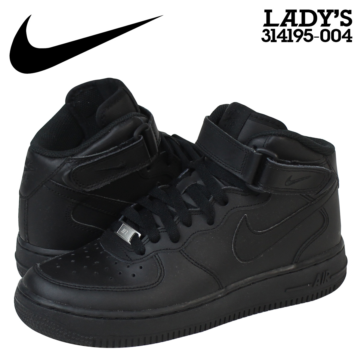 outlet store cb4c0 a7409 Nike NIKE Womens AIR FORCE 1 MID GS sneakers air force 1 mid leather Kids  Girls Junior kids GIRLS 314195-004 BLACKBLACK black 2  6 new in stock  ...