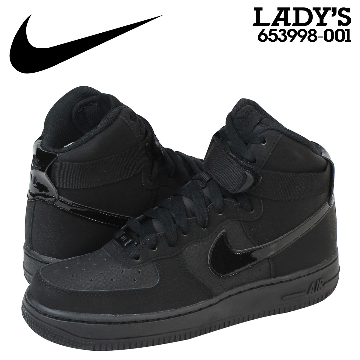 NIKE Nike air force sneakers Lady's AIR FORCE 1 HI GS air force 1 high  653,998-001 shoes black black