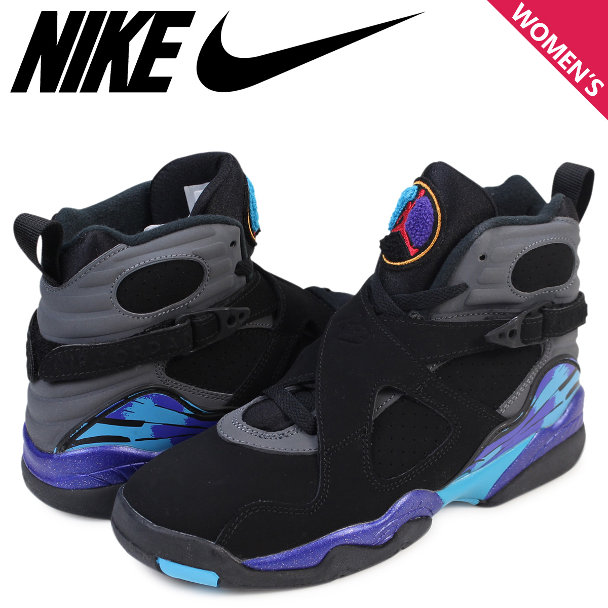 meet 0d626 1e299 NIKE Nike Air Jordan 8 nostalgic lady's sneakers AIR JORDAN 8 RETRO AQUA GS  305,368-025 shoes black black