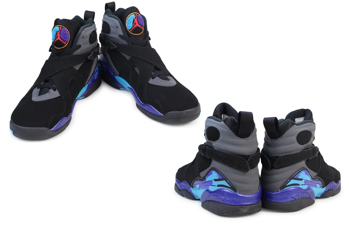 8a47dc8add3 NIKE Nike Air Jordan 8 nostalgic lady's sneakers AIR JORDAN 8 RETRO AQUA GS  305,368-025 shoes black black
