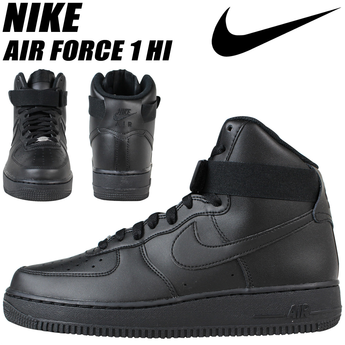 NIKE Nike air force sneakers AIR FORCE 1 HI 07 air force 1 315,121-032  men's shoes black black