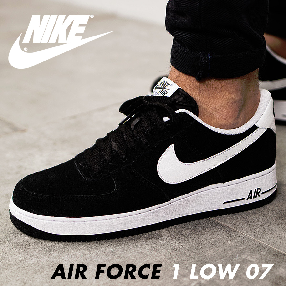 newest d6fe7 ea830 Nike NIKE air force 1 sneakers AIR FORCE 1 LOW 07 315,122-068 men s shoes  black  8 28 Shinnyu load