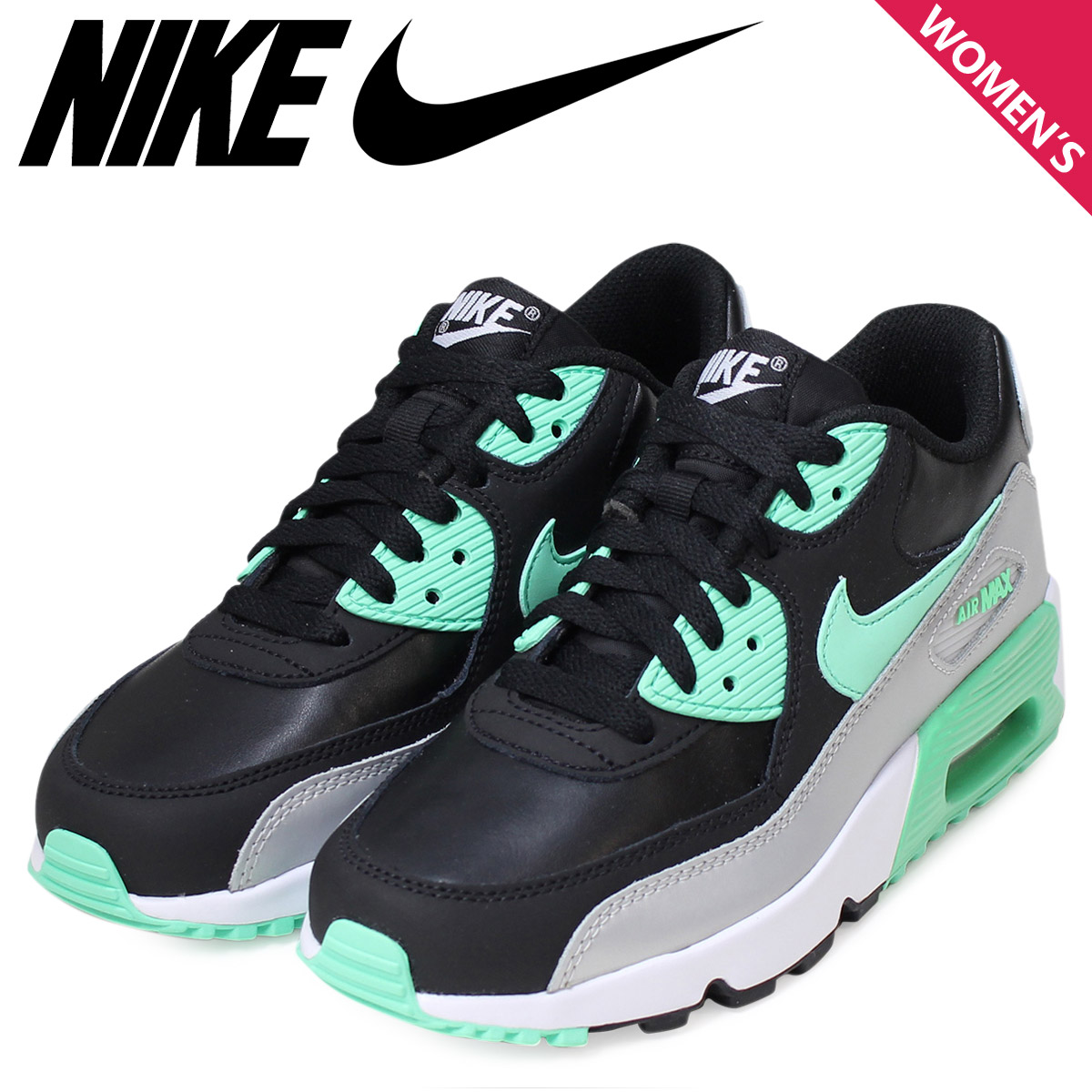 NIKE Kie Ney AMAX Lady's sneakers AIR MAX 90 LTR GS Air Max 833,376 001 shoes black black