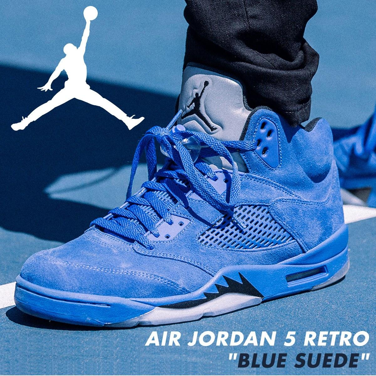 promo code 85311 76201 NIKE Nike Air Jordan 5 nostalgic sneakers AIR JORDAN 5 RETRO BLUE SUEDE  136,027-401 men's shoes blue
