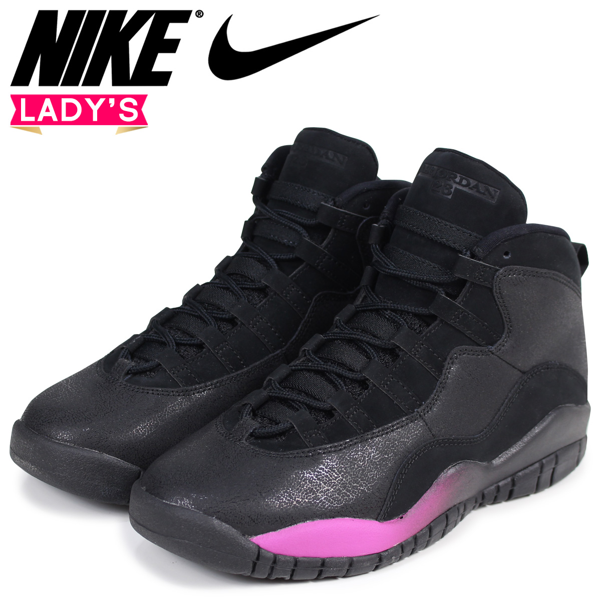 NIKE Nike Air Jordan 10 nostalgic lady's sneakers AIR JORDAN 10 RETRO GG  487,211-017 black black