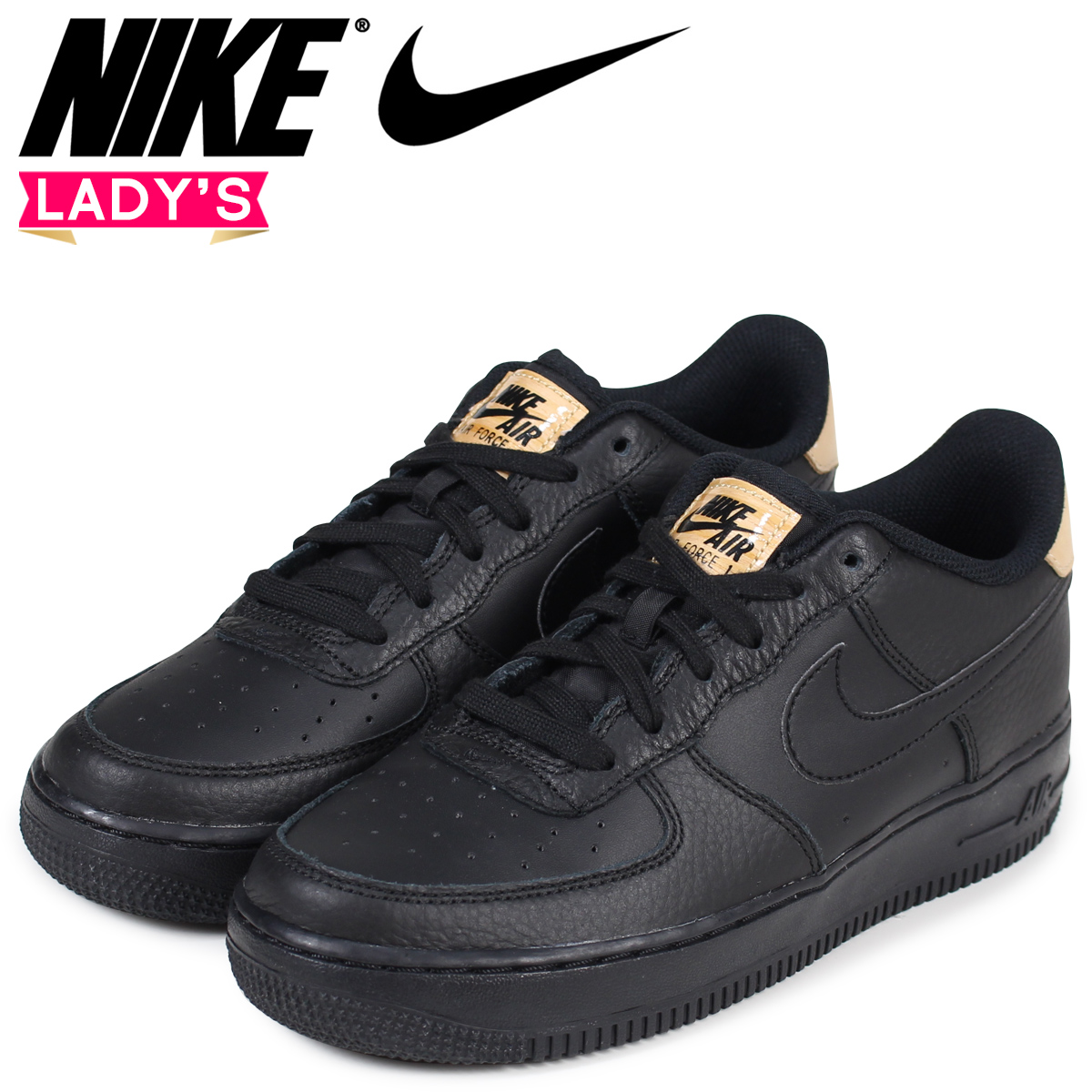 huge discount 16e63 fbbbb NIKE Nike air force 1 LV8 Lady's sneakers AIR FORCE 1 LOW GS 820,438-004  black black
