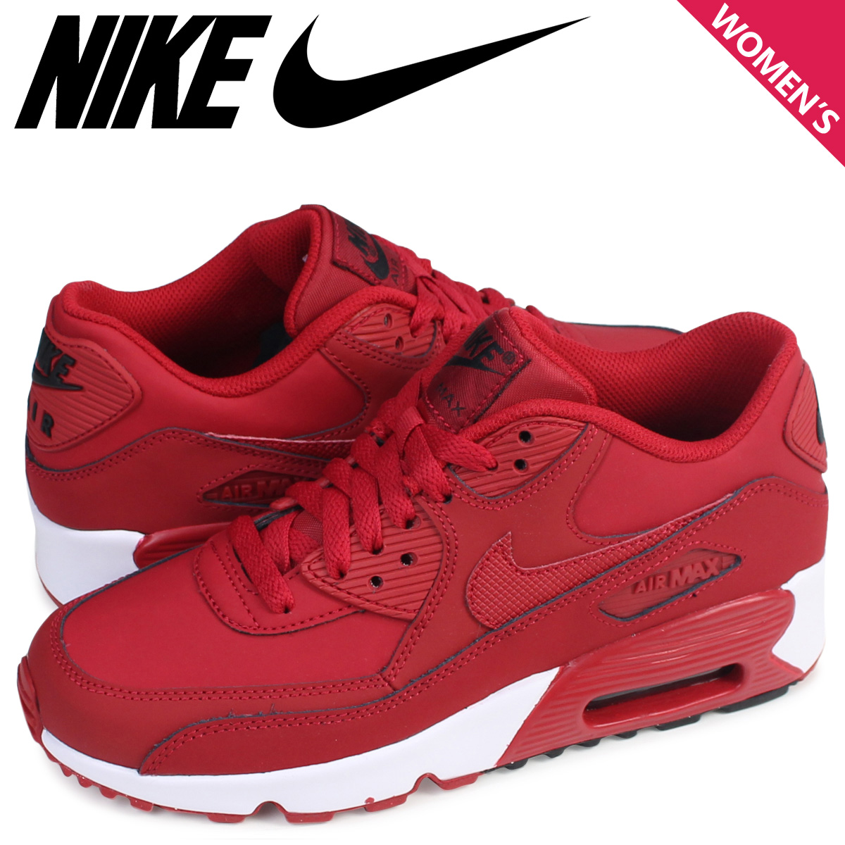 NIKE Kie Ney AMAX 90 Lady's sneakers AIR MAX 90 LEATHER GS 833,412 600 shoes red red