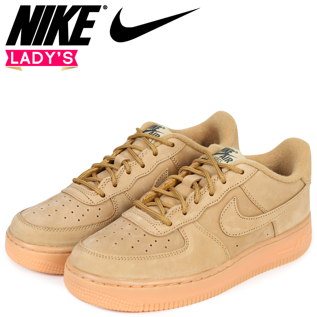 dfda254e5a1a Sugar Online Shop  NIKE Nike air force 1 lady s sneakers AIR FORCE 1 LOW WINTER  PREMIUM GS WHEAT 943