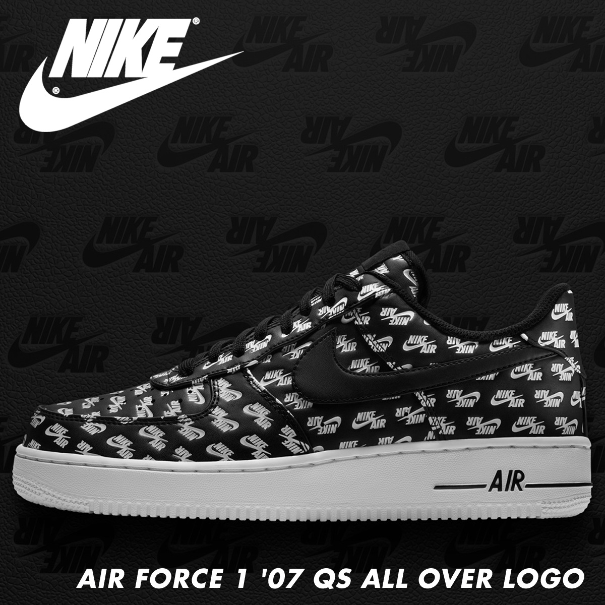 NIKE Nike air force 1 07 QS sneakers men AIR FORCE 1 ALL OVER LOGO AH8462 001 black black