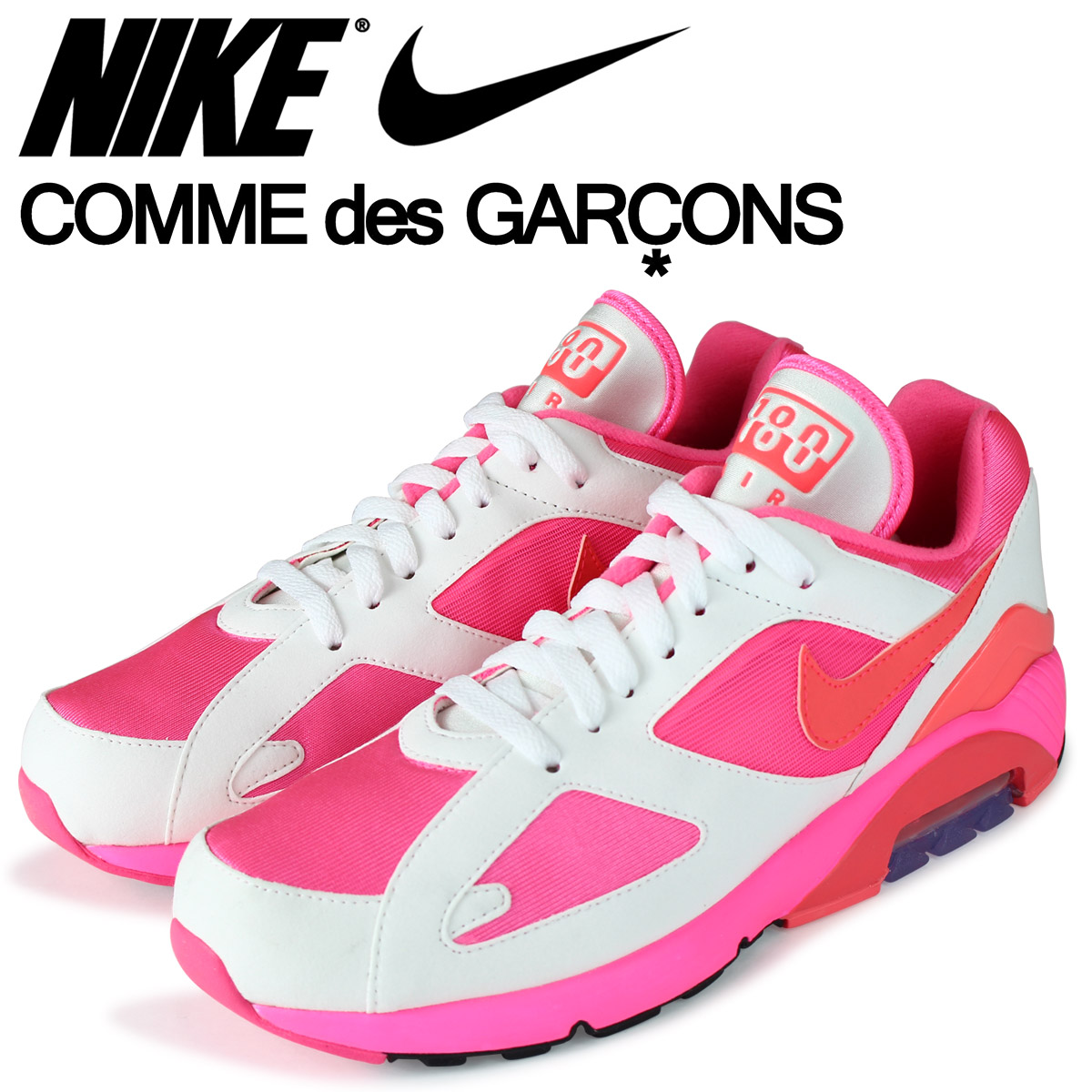 NIKE ナイキ コムデギャルソン エアマックス180 スニーカー メンズ COMME des GARCONS HOMME PLUS AIR MAX 180 CDG AO4641-600 ピンク