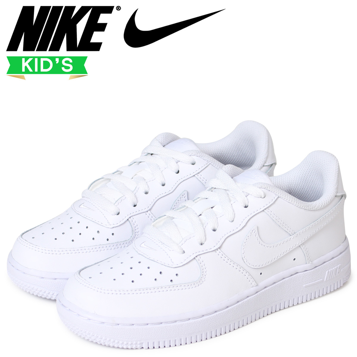 48a175ed693fd NIKE Nike air force 1 kids sneakers AIR FORCE 1 PS 314,193-117 white ...