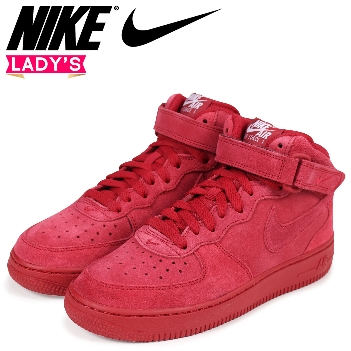 NIKE Nike air force 1 MID Lady's sneakers AIR FORCE 1 GS 314,195-603 red red