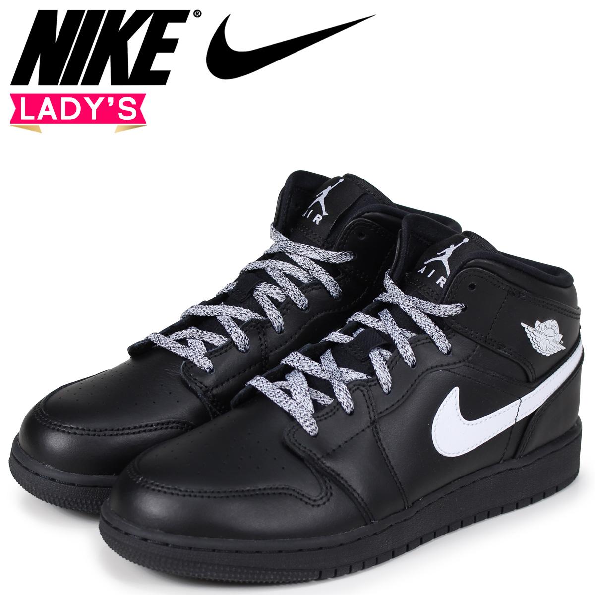 0cc1f1d73b8 NIKE Nike Air Jordan 1 Lady's sneakers AIR JORDAN 1 MID BG 554,725-049  black ...