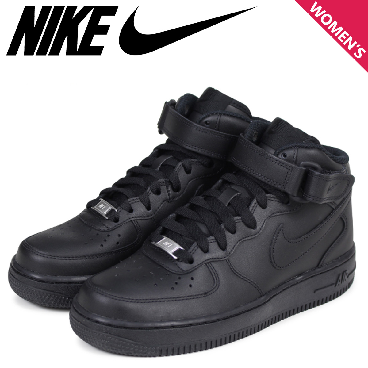 NIKE Nike Air Force sneakers Womens WMNS AIR FORCE 1 MID air force 1 mid  366731 - 001 black shoe  8 2 new in stock  f614caa9d