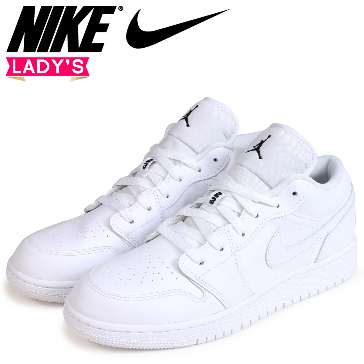 new product a483f d6ba0 NIKE Nike Air Jordan 1 Lady's sneakers AIR JORDAN 1 LOW GS 553,560-110  white white