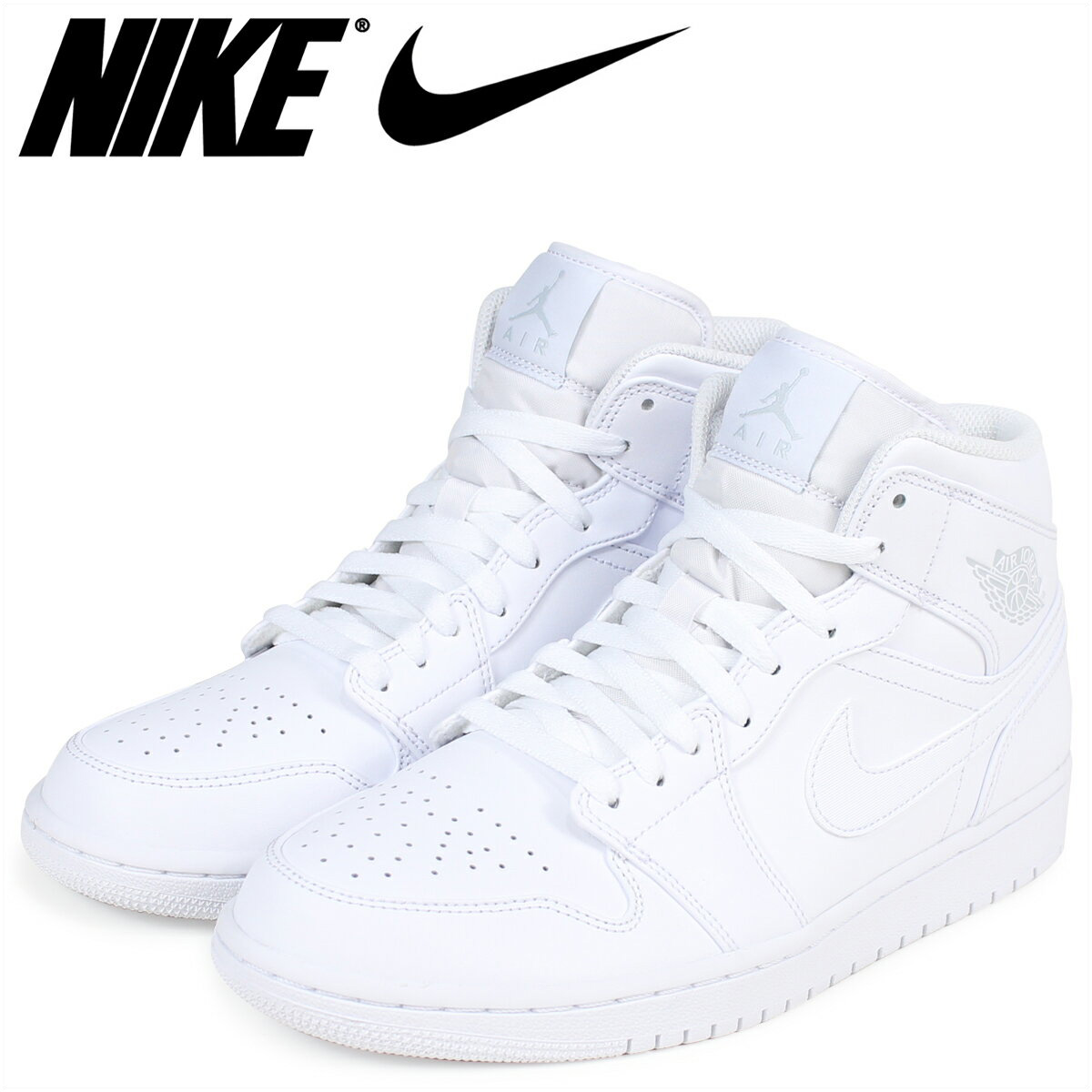 brand new 550dc 6280c NIKE Nike Air Jordan 1 sneakers AIR JORDAN 1 MID 554,724-104 men's shoes  white white