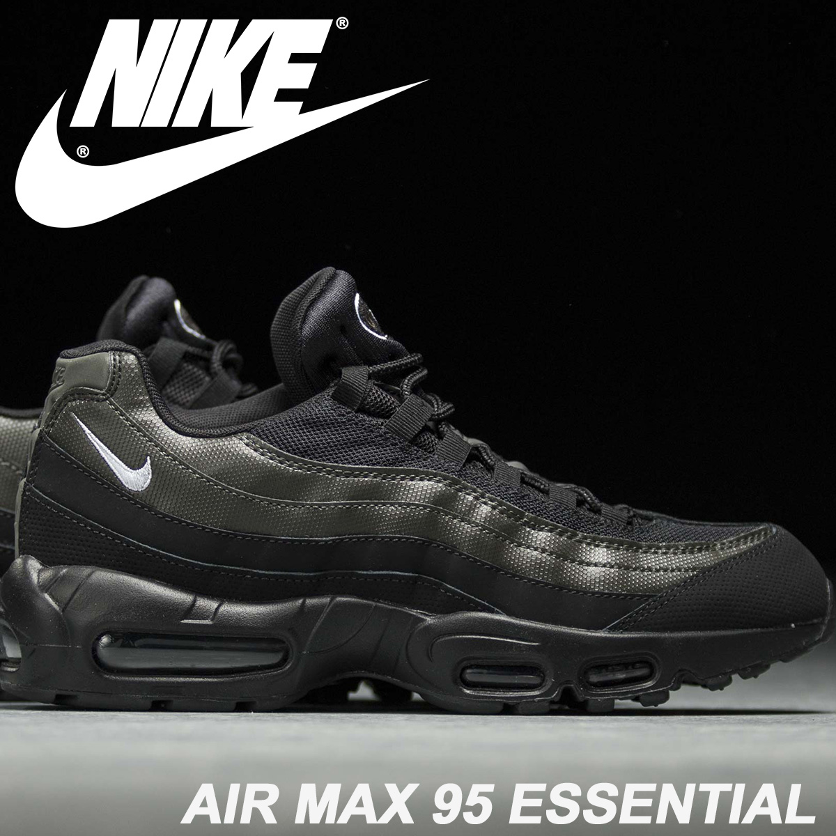 premium selection 8be32 20110 NIKE Kie Ney AMAX 95 essential sneakers men AIR MAX 95 ESSENTIAL 7,497,664-034  black black  4 24 reentry load