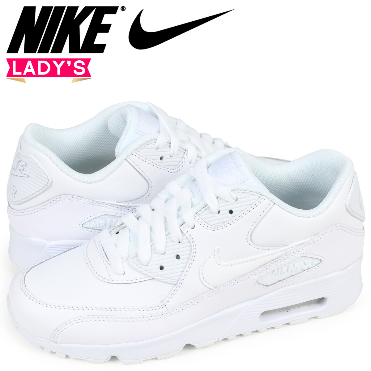 size 40 c4a9a 776cd NIKE Kie Ney AMAX 90 Lady s sneakers AIR MAX 90 LEATHER GS 833,412-100 white  white  load planned reentry load in reservation product 5 21 containing