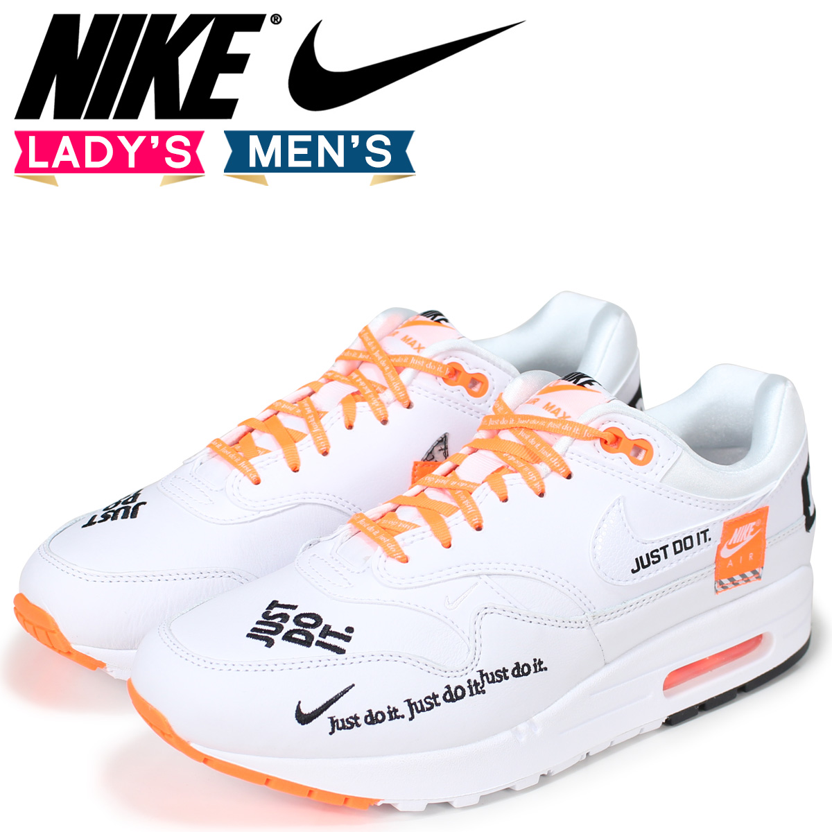 NIKE Kie Ney AMAX 1 lady's men's sneakers WMNS AIR MAX 1 LX 917,691 100 white white