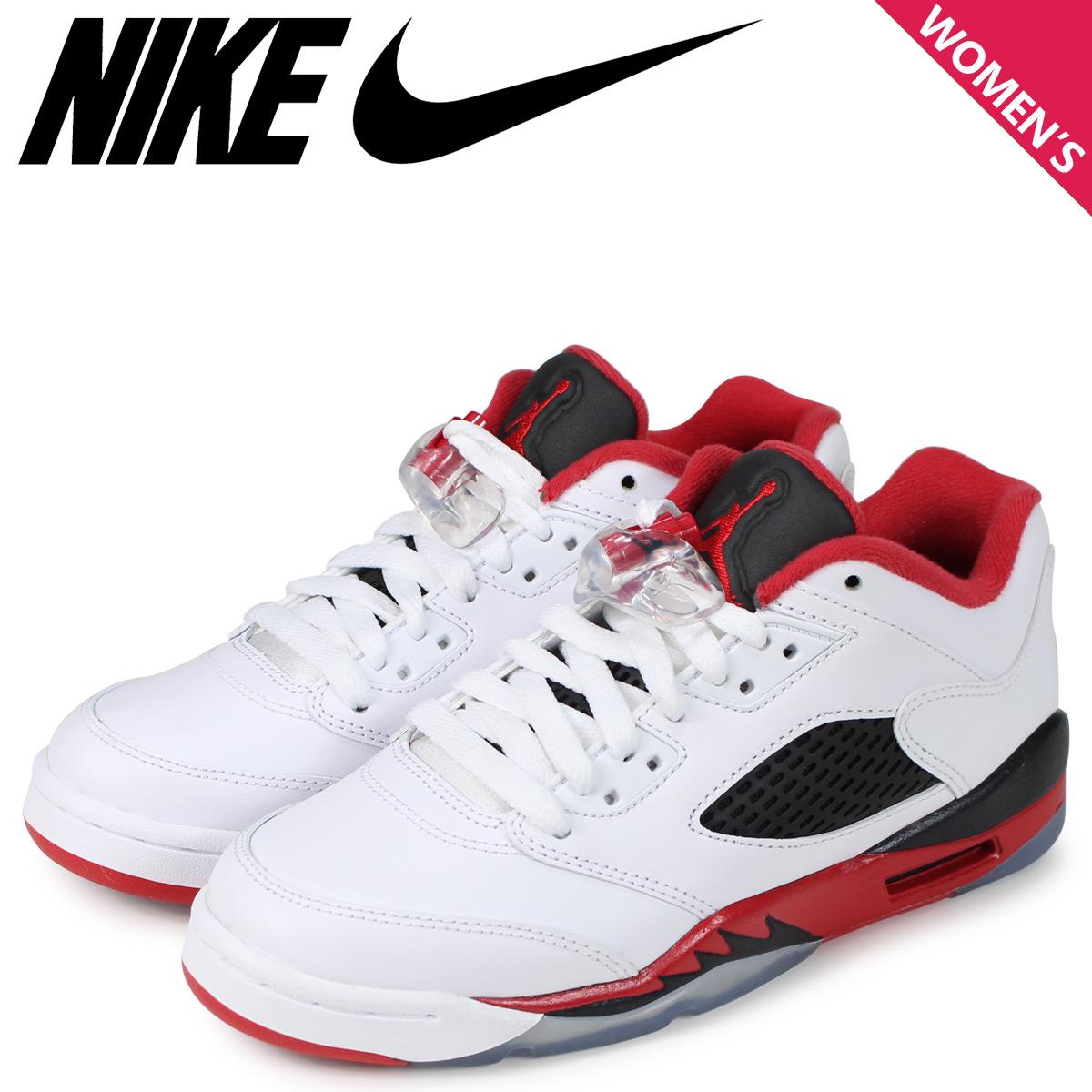 e7e1ad1693bd14 NIKE Nike Air Jordan 5 nostalgic lady s sneakers AIR JORDAN 5 RETRO LOW GS  FIRE RED white 314