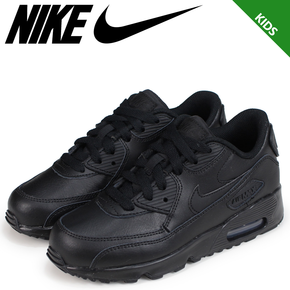 new concept 3e122 df092 NIKE Kie Ney AMAX 90 kids sneakers AIR MAX 90 LEATHER PS 833,414-001 black  ...
