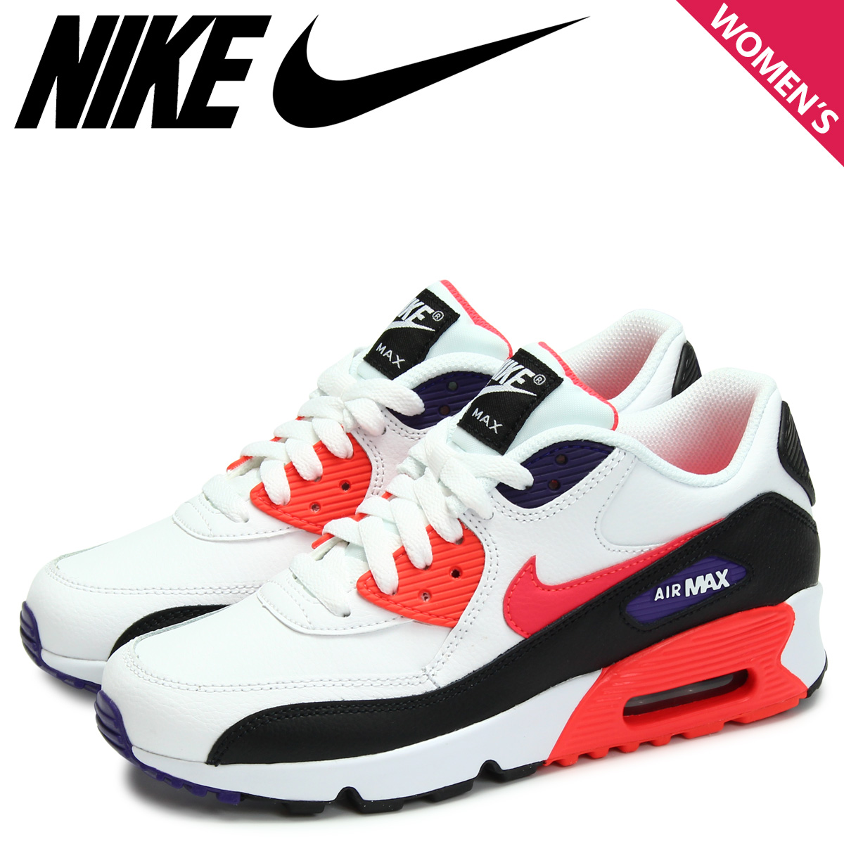 NIKE Kie Ney AMAX 90 sneakers Lady's AIR MAX 90 LEATHER GS white white 833,412 117